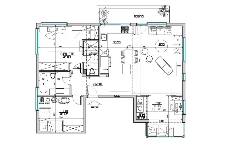 תכנית הדירה.  עוד על הדירה בכתבה ב-xnet.