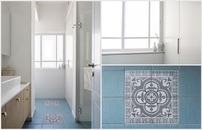 כמה פרטים מחדר רחצה: הרצפה המצויירת (סטודיו ורדי), הארון שמסתיר את  מכונת הכביסה והמייבש , הכניסה למקלחון.