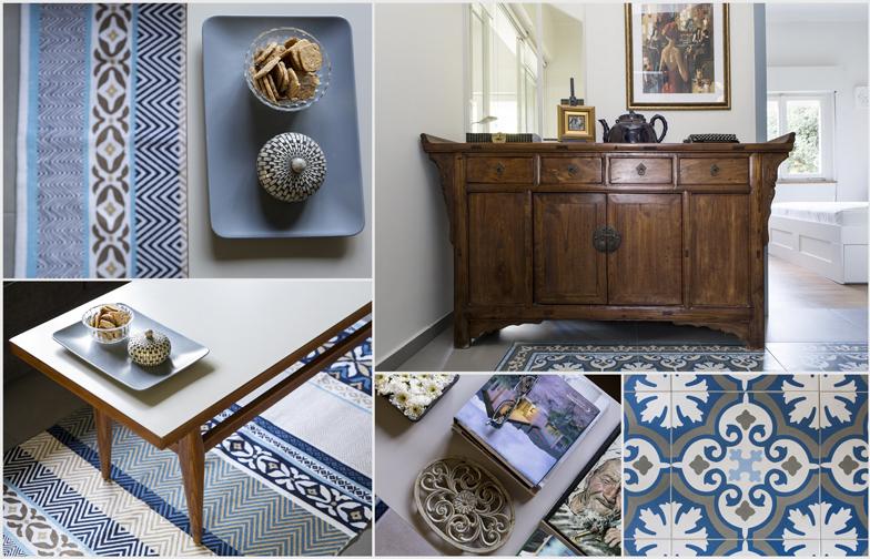 כמה צילומים של פרטים. השידה הסינית העתיקה, הרצפה המצויירת, השולחן משוק הפשפשים.