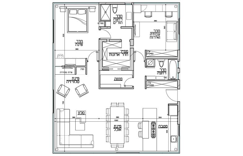 תכנית בית הזכוכית. אדריכלות: מיכאל – אקר אדריכלים - תכנית הבית.