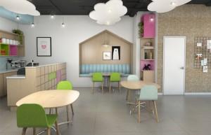 פינות הישיבה מאפשרת מעבר לאכילה - גם התכרבלות משפחתית, הנקה ומשחק משותף בין הורים לילדים.