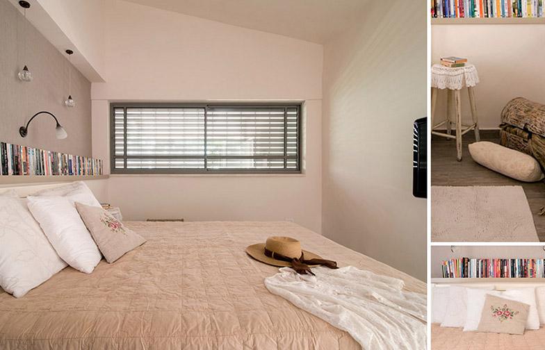 צילום: אילן נחום - חדר שינה הורים היה בעברו מטבח ואזור שירות. הנישה מאחורי המיטה היתה קיימת, ובאמצעות טפט, תאורה ונגרות קיבלה אופי שונה.