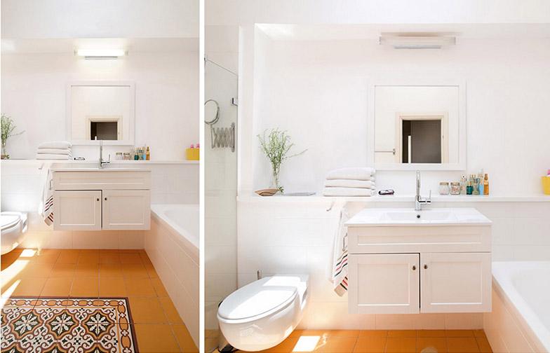 צילום: אילן נחום - חדר רחצה הורים עם רצפה מצוירת וצבעונית, וכל היתר - החיפויים, הקירות, הנגרות - בלבן בהיר, לאיזון.