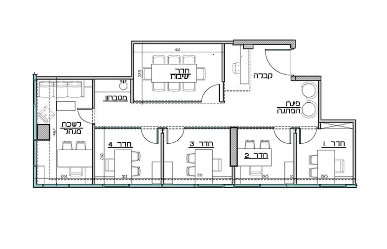"""תכנית המשרד - ב 85 מטר רבוע שיבצתי חדר ישיבות, חמישה חדרי עו""""ד, מטבחון, עמדת קבלה ופינת המתנה. המשרד התקבל ברמת מעטפת (כלומר, קירות חיצוניים בלבד)."""