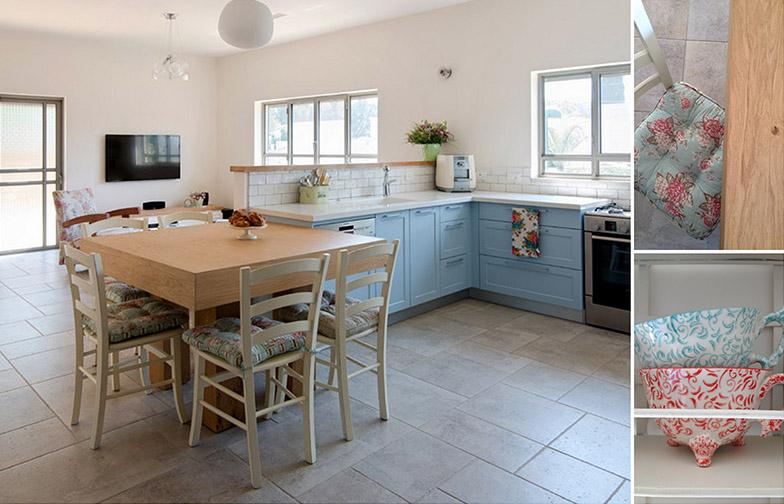 צילום: אילן נחום - פינת האוכל הריבועית צמודה לקצה המטבח. קיר נמוך מפריד בין המטבח לסלון, מבלי לפגוע בתחושת המרחב.