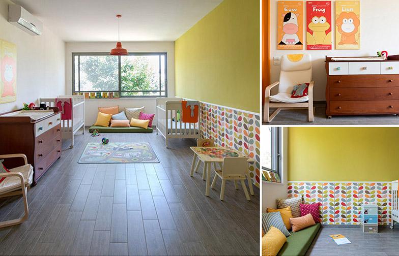"""צילום: אילן נחום - חדר הילדים הוא ענק - הוא מתוכנן כך שבהמשך יהיה אפשר לפצל אותו לשני חדרים נפרדים לשני הילדים על ידי הקמת קיר גבס. מרבץ כריות מפנק נתפר בהזמנה על ידי אביבית פורת מ <a href=""""http://coverstorytlv.blogspot.co.il/""""  target=""""_blank"""">סיפור כיסוי</a>"""