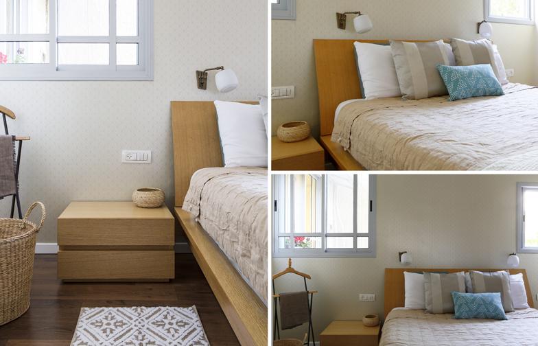 צילום: איתי בנית - חדר השינה של ההורים יועד להיות מפלט מההמולה, ולכן הגוונים בו רכים יותר ומעודנים.