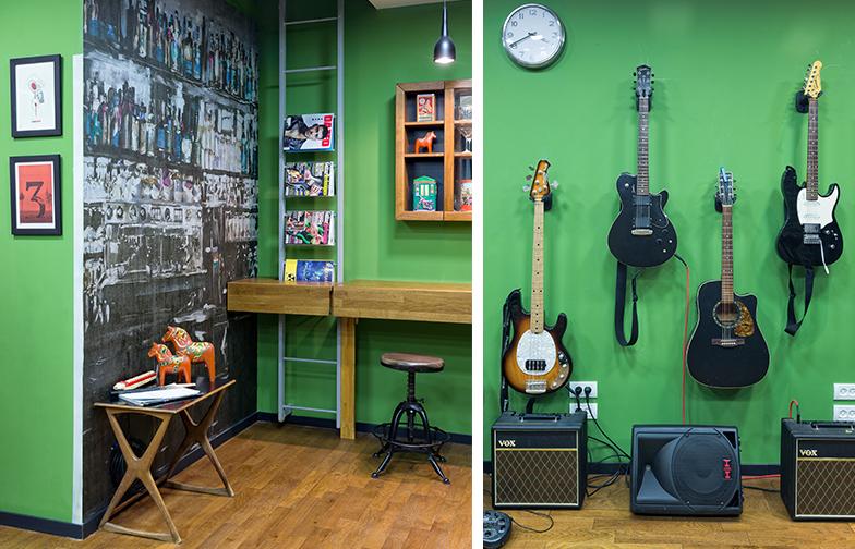 פרקט עץ על הרצפה, טפט ובריקים על הקירות ועבודות של אמנים ישראלים ( צחי נבו ויוניל). וכמובן - גיטרות, מגברים, רמקולים.