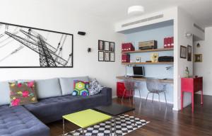 דירת ארבעה חדרים במרכז העיר בהרצליה, אשר עברה שיפוץ כללי. הלקוחות - משפחה צעירה ולה שתי בנות - ביקשו בית צבעוני, קליל, עם דגש על חלל ציבורי מרווח ומואר, והרבה אחסון. על הקיר מוצגת עבודה בחיתוך ברזל של יניב פשפשים>